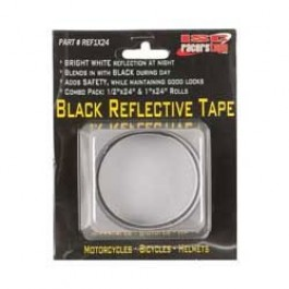 """ISC Racers Tape BLACK REFLECTIVE TAPE, 1"""" x 24"""" strip and 1/2"""" x 24"""" strip"""