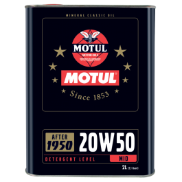 <p>Lubricant specially designed for engines built between 1950 and 1970. Mineral multigrade lubricant with middle detergent level, compatible with elastomer gaskets. 20W50 oil meets standards of the 1950 – 1970 period (API SF/CC) while benefiting fr