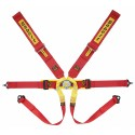 Sabelt Formula Harness (FIA Approved) Steel Adjuster, 6-point, 3 Inch Shoulder Straps, 2 Inch Lap Straps, Pull Down Lap Adjustment, Bolt in, Short Lever