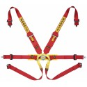 Sabelt Formula Harness (FIA Approved) Steel Adjuster, 6-point, 3/2 Inch Shoulder Straps, 2 Inch Lap Straps, Pull Up Lap Adjustment, Bolt in, Short Lever