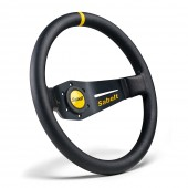 Dished steering wheel - 90 mm depth. Black smooth leather.