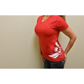 425 Motorsports Lady's Hip V-Neck Tee- Red