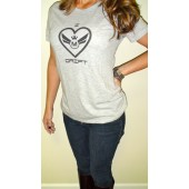 425 Motorsports - Ladies I Heart Drift - Crew Shirt - Light Heather Grey