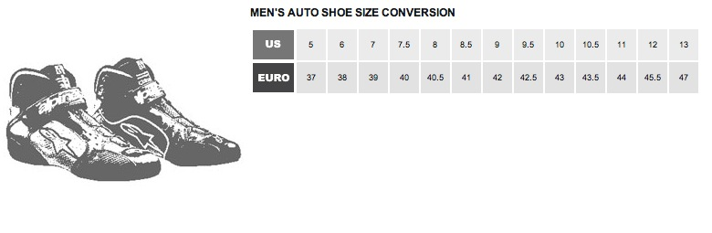 Alpinestars Men's Shoe Size Chart
