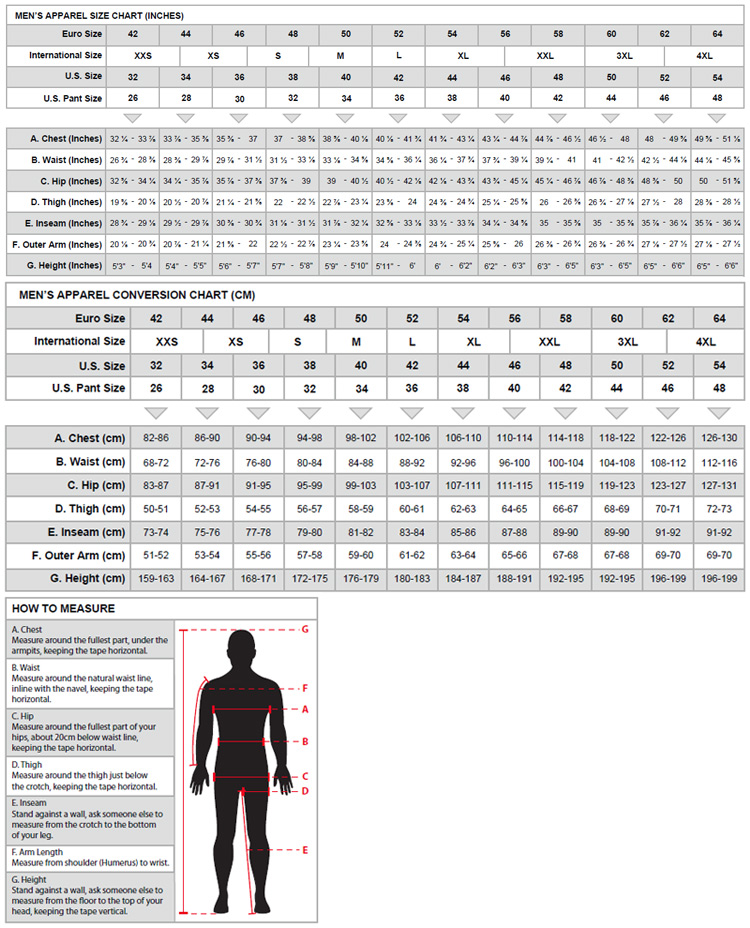 Alpinestars Men's Apparel Sizing Chart