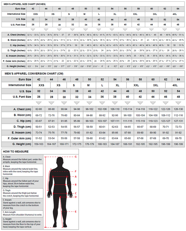 Alpinestars Men's Suit Sizing Chart