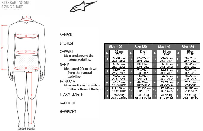 Alpinestars Youth Suit Sizing Chart
